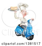 Clipart Of A White Male Chef With A Curling Mustache Holding A Hot Dog On A Scooter Royalty Free Vector Illustration