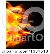 Profiled Womans Face Made Of Fire Over Black