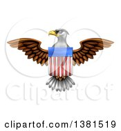 Clipart Of A Flying Bald Eagle With An American Flag Shield Royalty Free Vector Illustration by AtStockIllustration