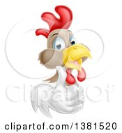 Clipart Of A Happy White And Brown Chicken Or Rooster Giving A Thumb Up Royalty Free Vector Illustration by AtStockIllustration