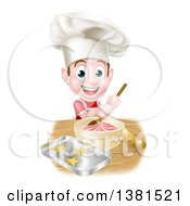 Clipart Of A Happy Brunette Caucasian Boy Wearing A Chef Hat And Making Frosting And Baking Cookies Royalty Free Vector Illustration