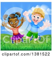 Clipart Of A Happy Energetic White Boy And Black Girl Jumping Outside On A Sunny Day Royalty Free Vector Illustration