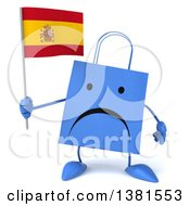 Clipart Of A 3d Blue Shopping Bag Character On A White Background Royalty Free Illustration