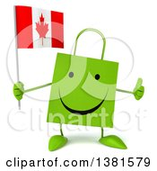 Clipart Of A 3d Green Shopping Bag Character On A White Background Royalty Free Illustration