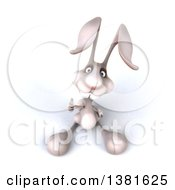 Clipart Of A 3d White Rabbit On A White Background Royalty Free Illustration