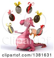 Clipart Of A 3d Pink Dragon On A White Background Royalty Free Illustration