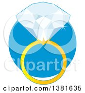 Clipart Of A Diamond Ring With A Gold Band Over A Blue Circle Royalty Free Vector Illustration