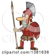 Clipart Of A Cartoon Greek God Of War Ares In Full Armor Holding A Spear Royalty Free Vector Illustration