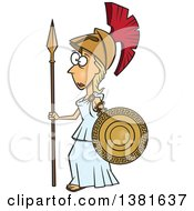 Clipart Of A Cartoon Roman Goddess Of War Athena Holding A Shield And Spear Royalty Free Vector Illustration