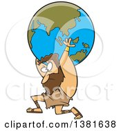 Clipart Of A Cartoon Greek God Atlas Carrying Earth Royalty Free Vector Illustration