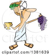 Clipart Of A Cartoon Greek God Dionysus Holding A Bunch Of Grapes And A Goblet Royalty Free Vector Illustration