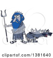 Clipart Of A Cartoon Greek God Hades With His Three Headed Dog Cerberus Royalty Free Vector Illustration by Ron Leishman