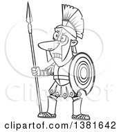 Clipart Of A Cartoon Black And White Greek God Of War Ares In Full Armor Holding A Spear Royalty Free Vector Illustration