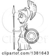 Clipart Of A Cartoon Black And White Roman Goddess Of War Athena Holding A Shield And Spear Royalty Free Vector Illustration by toonaday
