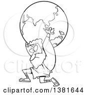 Clipart Of A Cartoon Black And White Greek God Atlas Carrying Earth Royalty Free Vector Illustration