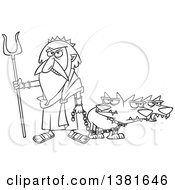 Clipart Of A Cartoon Black And White Greek God Hades With His Three Headed Dog Cerberus Royalty Free Vector Illustration