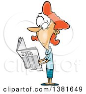 Clipart Of A Cartoon Red Haired White Woman Looking For Jobs In The Classifieds Royalty Free Vector Illustration
