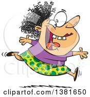 Clipart Of A Cartoon Crazy Woman Running And Leaping On Insanity Day Royalty Free Vector Illustration by toonaday
