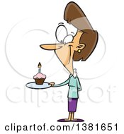 Clipart Of A Cartoon Happy Brunette White Woman Holding A Birthda Cupcake On A Plate Royalty Free Vector Illustration