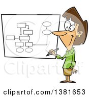 Cartoon Brunette White Business Woman Drawing A Chart For Project Management