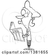 Clipart Of A Cartoon Black And White Woman Looking For Jobs In The Classifieds Royalty Free Vector Illustration
