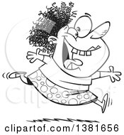 Clipart Of A Cartoon Black And White Crazy Woman Running And Leaping On Insanity Day Royalty Free Vector Illustration