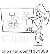 Clipart Of A Cartoon Black And White Business Woman Drawing A Chart For Project Management Royalty Free Vector Illustration by toonaday