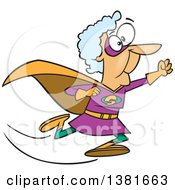 Clipart Of A Cartoon Super Caucasian Granny Running To The Rescue Royalty Free Vector Illustration