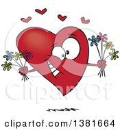 Cartoon Romantic Heart Character Holding Bouquets Of Flowers