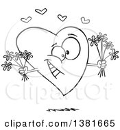 Clipart Of A Cartoon Black And White Romantic Heart Character Holding Bouquets Of Flowers Royalty Free Vector Illustration