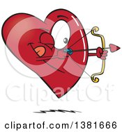 Clipart Of A Cartoon Heart Character Shooting An Arrow Royalty Free Vector Illustration