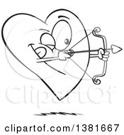 Clipart Of A Cartoon Black And White Heart Character Shooting An Arrow Royalty Free Vector Illustration by toonaday