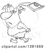 Clipart Of A Cartoon Chubby Black And White Man Failing At His New Year Resolution Throwing A Scale Over His Head And Giving Up Royalty Free Vector Illustration