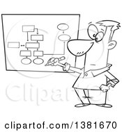 Clipart Of A Cartoon Black And White Business Man Drawing A Chart For Project Management Royalty Free Vector Illustration by toonaday