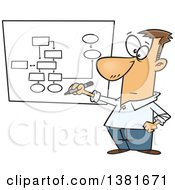 Clipart Of A Cartoon Business White Man Drawing A Chart For Project Management Royalty Free Vector Illustration