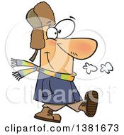 Clipart Of A Cartoon Happy White Man Taking A Winter Stroll Royalty Free Vector Illustration