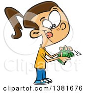 Clipart Of A Cartoon Happy Brunette White Girl Counting Her Cash Money Royalty Free Vector Illustration