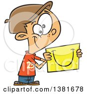 Clipart Of A Cartoon Happy White Boy Sharing A Smile On A Piece Of Paper Royalty Free Vector Illustration