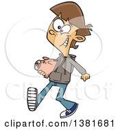 Cartoon Happy White Teenage Boy Walking With A Piggy Bank