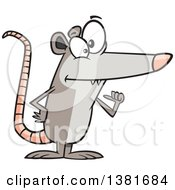Clipart Of A Cartoon Awesome Possum Pointing To Himself Royalty Free Vector Illustration