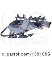 Clipart Of A Cartoon Three Headed Dog Cerberus The Hound Of Hades From Greek Mythology Royalty Free Vector Illustration by toonaday