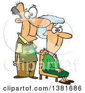 Clipart Of A Cartoon Happy White Senior Couple The Wife Sitting And Man Standing Royalty Free Vector Illustration