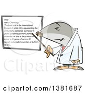 Clipart Of A Cartoon Chemist Mole Pointing To A White Board Royalty Free Vector Illustration by toonaday