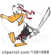 Clipart Of A Cartoon Ninja Duck In Black Swinging A Katana Sword Royalty Free Vector Illustration by Ron Leishman