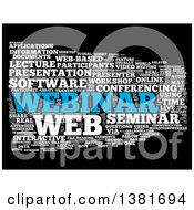 Clipart Of A White And Blue Webinar Word Tag Collage Over Black Royalty Free Illustration