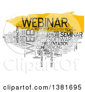 Clipart Of A Yellow And Gray Webinar Word Tag Collage Over White Royalty Free Illustration