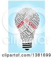 Clipart Of A Black And Red Light Bulb Shaped Web Design Word Tag Collage Over Blue Royalty Free Illustration by MacX