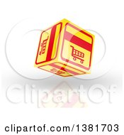 Clipart Of A 3d Yellow And Red Floating Shopping Cart Icon Cube Over Shading And A Reflection Royalty Free Illustration by MacX