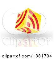 Clipart Of A 3d Yellow And Red Floating RSS Icon Cube Over Shading And A Reflection Royalty Free Illustration by MacX