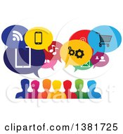 Colorful Group Of People With Icon Speech Balloons